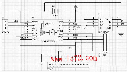 从前端传感器采集来的数据经过程控增益放大器进行放大,随后进入模数