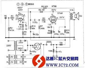 用KT66制作单端胆机的电路图图片