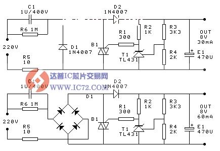 电容降压稳压电源电路图