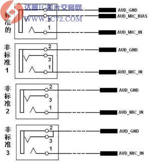 前置麦克插座标准接线图与非标准接线图
