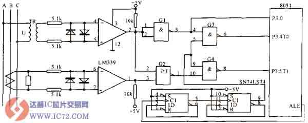 三相电网测量接口电路 三相交流电是电能的一种输送形式,简称为三相电。三相交流电源,是由三个频率相同、振幅相等、相位依次互差120°的交流电势组成的电源。三相交流电的用途很多,工业中大部分的交流用电设备,例如电动机,都采用三相交流电,也就是经常提到的三相四线制。而在日常生活中,多使用单相电源,也称为照明电。当采用照明电供电时,使用三相电其中的一相对用电设备供电,例如家用电器,而另外一根线是三相四线之中的第四根线,也就是其中的零线,该零线从三相电的中性点引出。