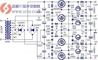 带限流保护的正负高低双组稳压电源电路图