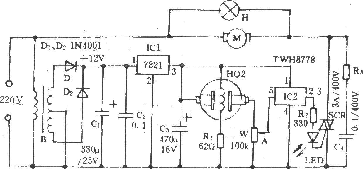 换气扇自动排烟电路 - 电风扇