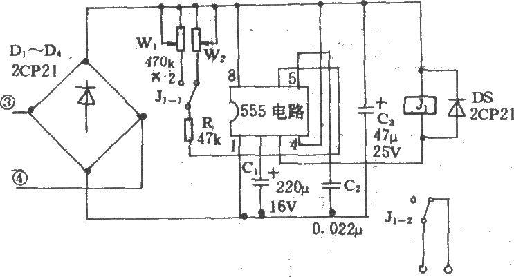 吊扇定时电路                   电风扇选频声波遥控开关