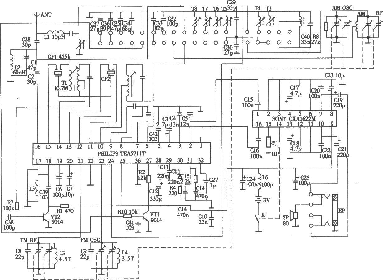 德堆r-808a犁八波段收音机电路