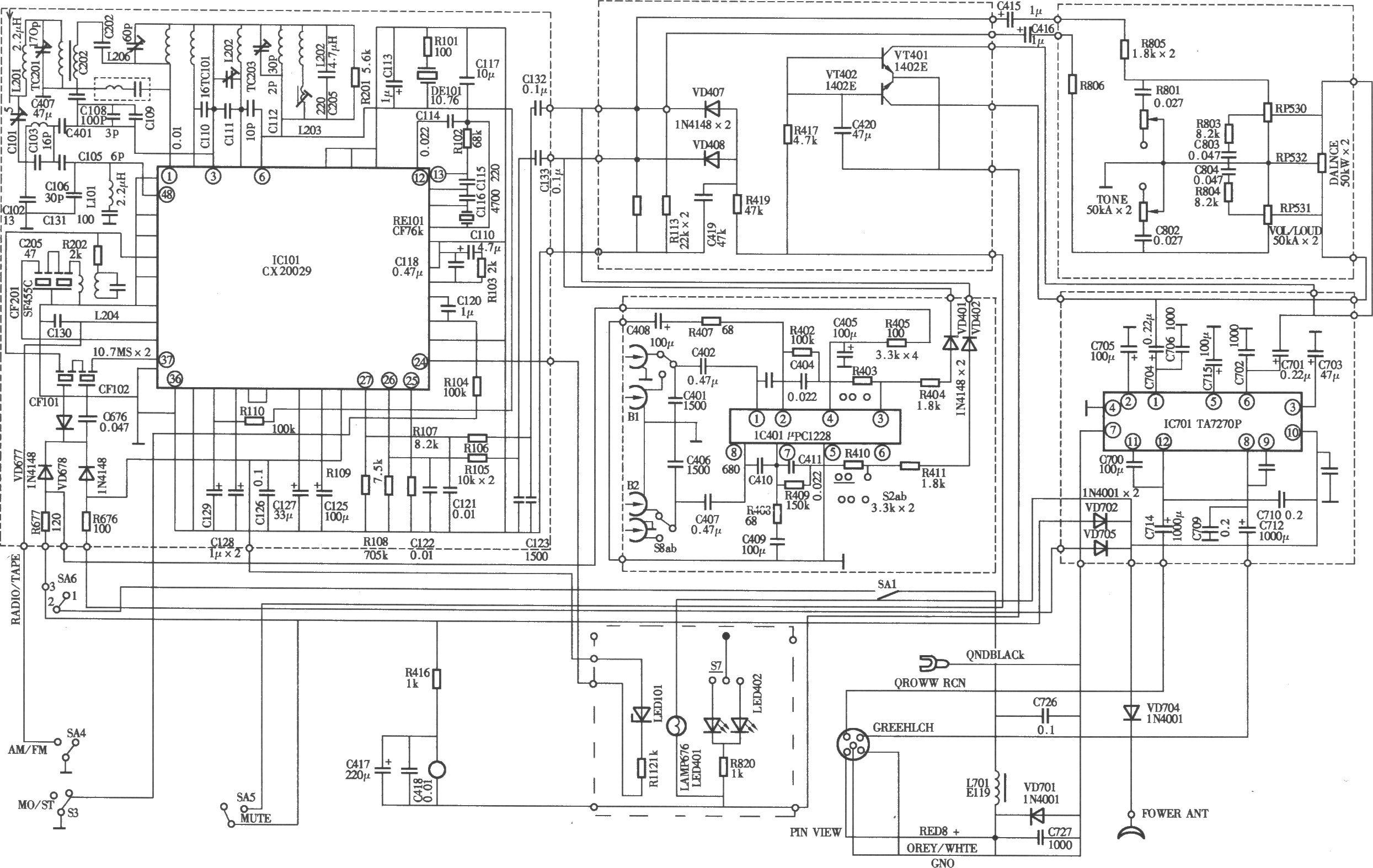 伽玛牌jm-1168型汽车音响电路