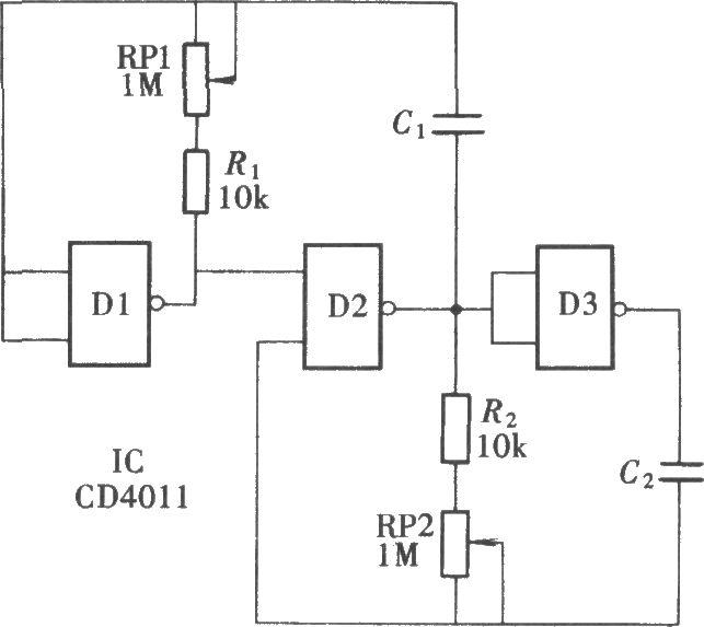 注:一般的脉冲发生器在调整其振荡频率时,它的信号脉宽也随之改变.