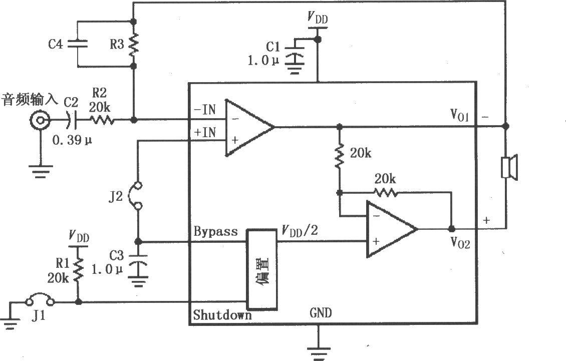 lm4819高增益音频放大电路