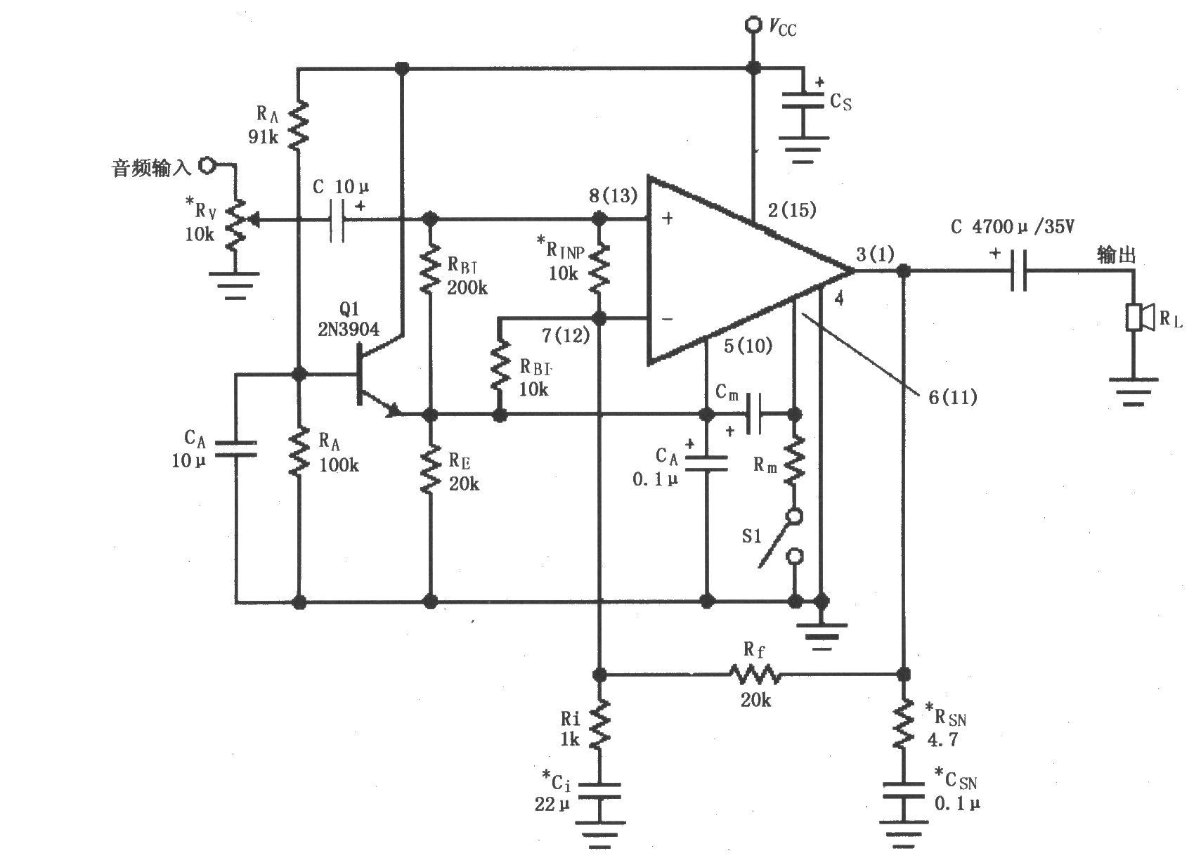 lm4766单电源供电的音频功率放大电路