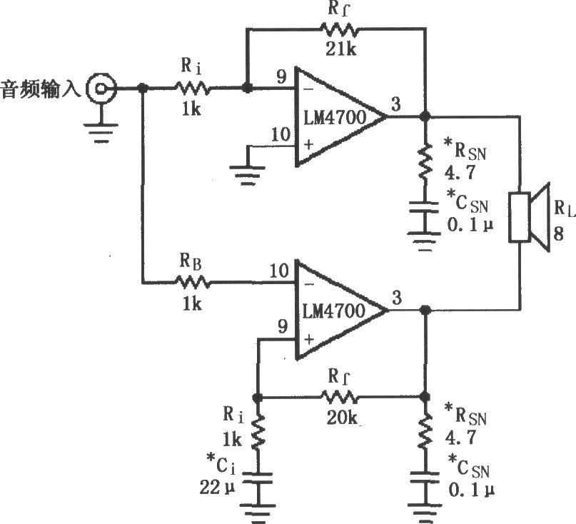 如图所示为用2片LM4700/4701构成的电桥输出音频功率放大器电路。音频输入信号分别由两个隔离电阻Ri和RB加到各自LM4700/4701的输入端9脚、10脚,放大后由3脚输出,分别送到扬声器(负载电阻RL)。两片LM4700/4701实际上形成推挽放大电路。LM4700/4701电桥输出结构功率放大器的特点是:输出信号摆幅大,是单端输出(一端接地)结构的2倍,理论上讲输出功率是单端输出的4倍;输出功率大,加装散热片时应仔细,根据具体应用考虑散热片的参数。