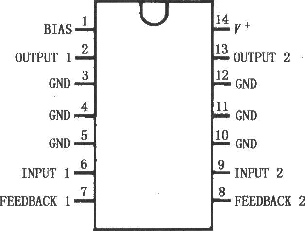 lm1877具有低音控制的2wx2功放电路图--电压6~24v