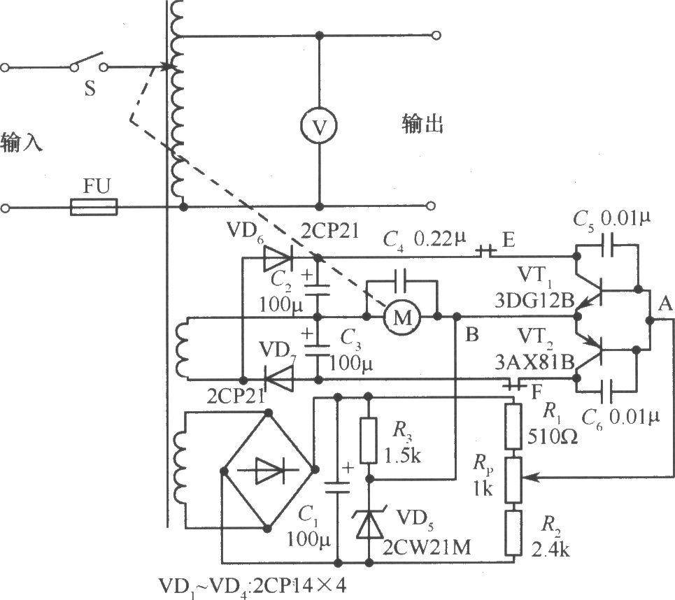 0W自动调压式交流稳压电源电路图图片