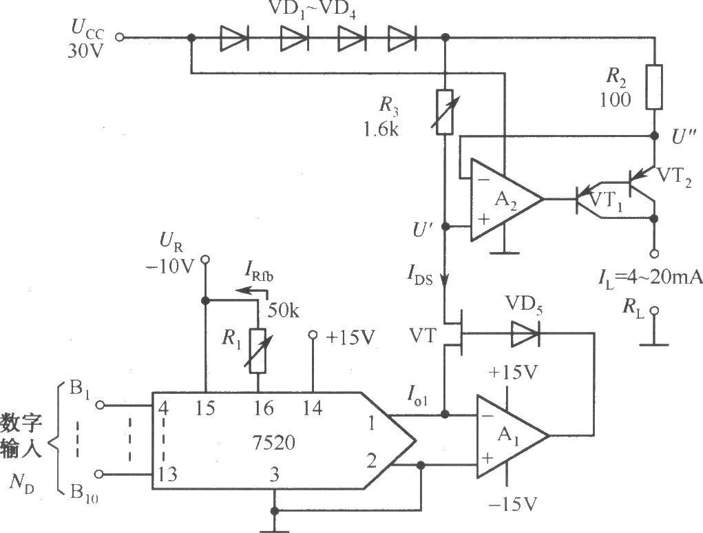 程控电流源电路(7520dac)
