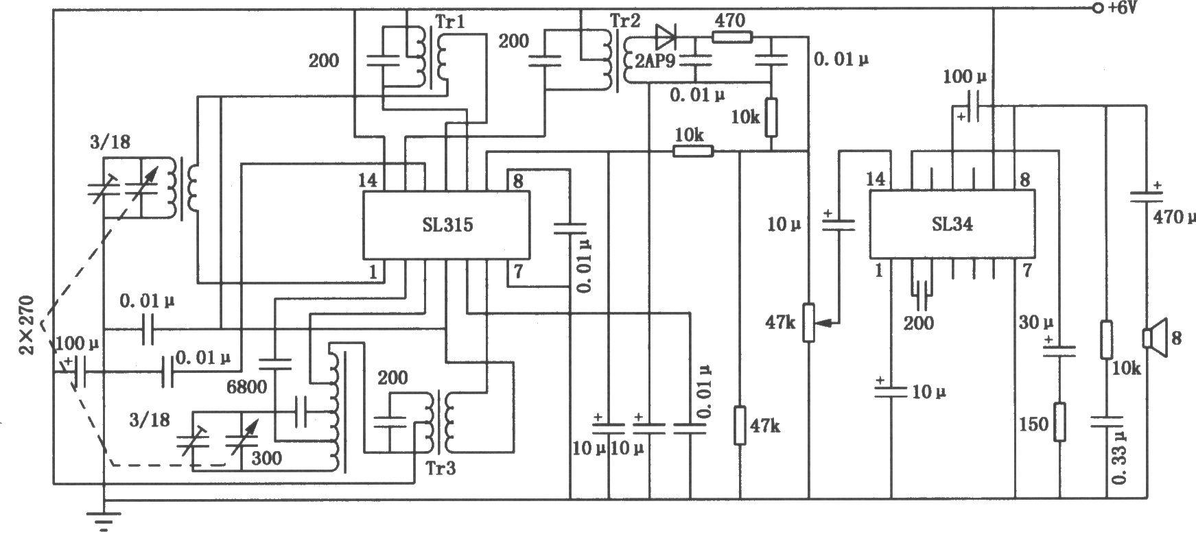 用sl34和sl315构成的中波调幅收音机电路
