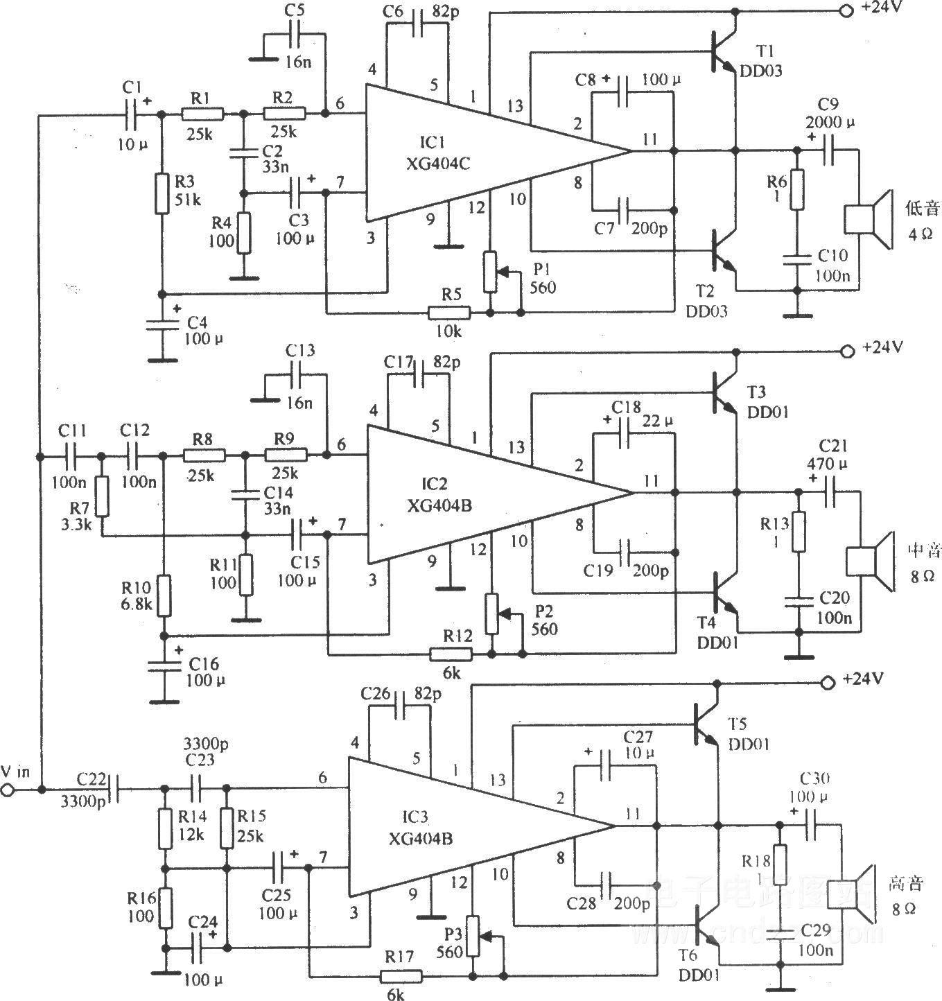 电子分频放大电路
