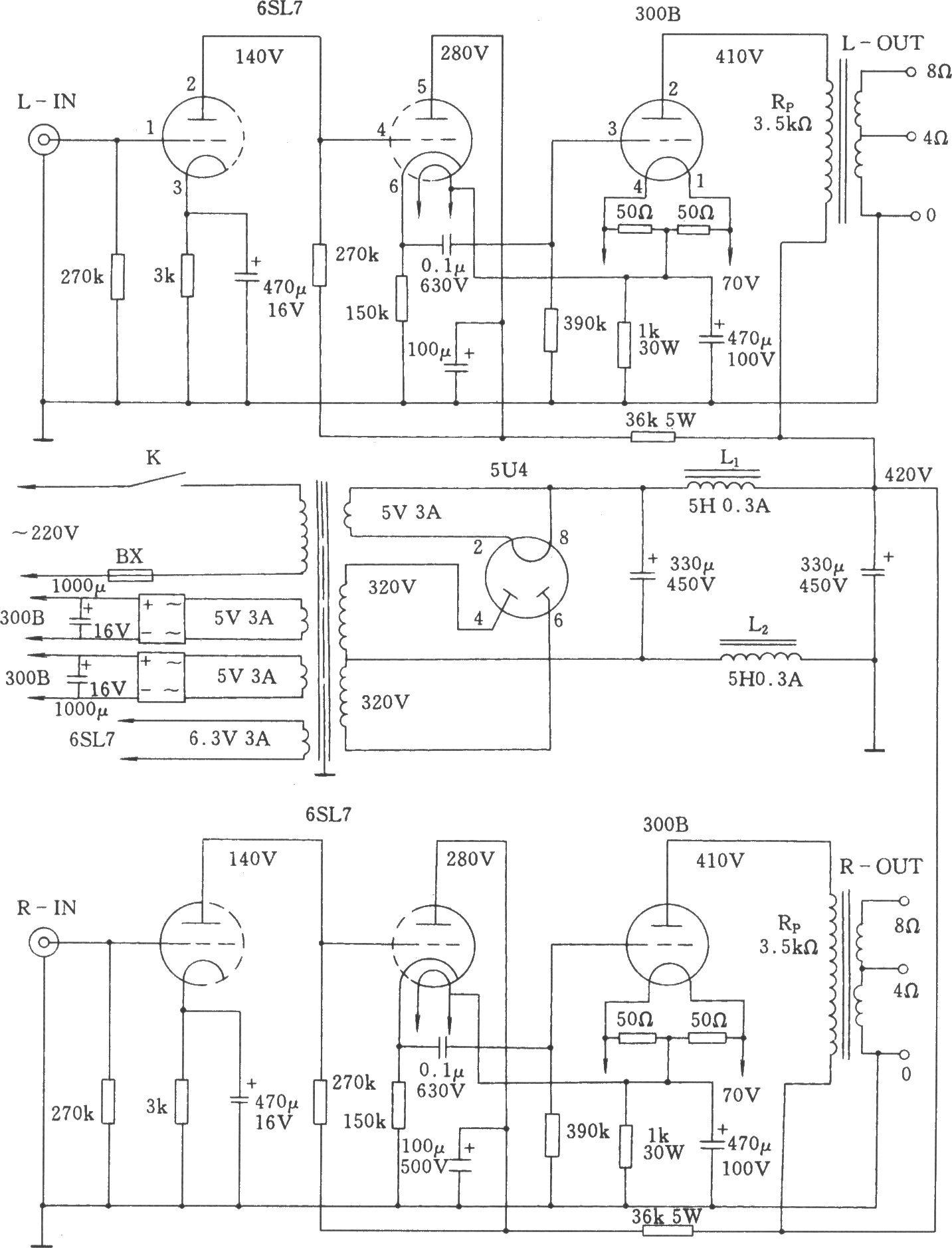合并式单端a类300b电子管功放电路图