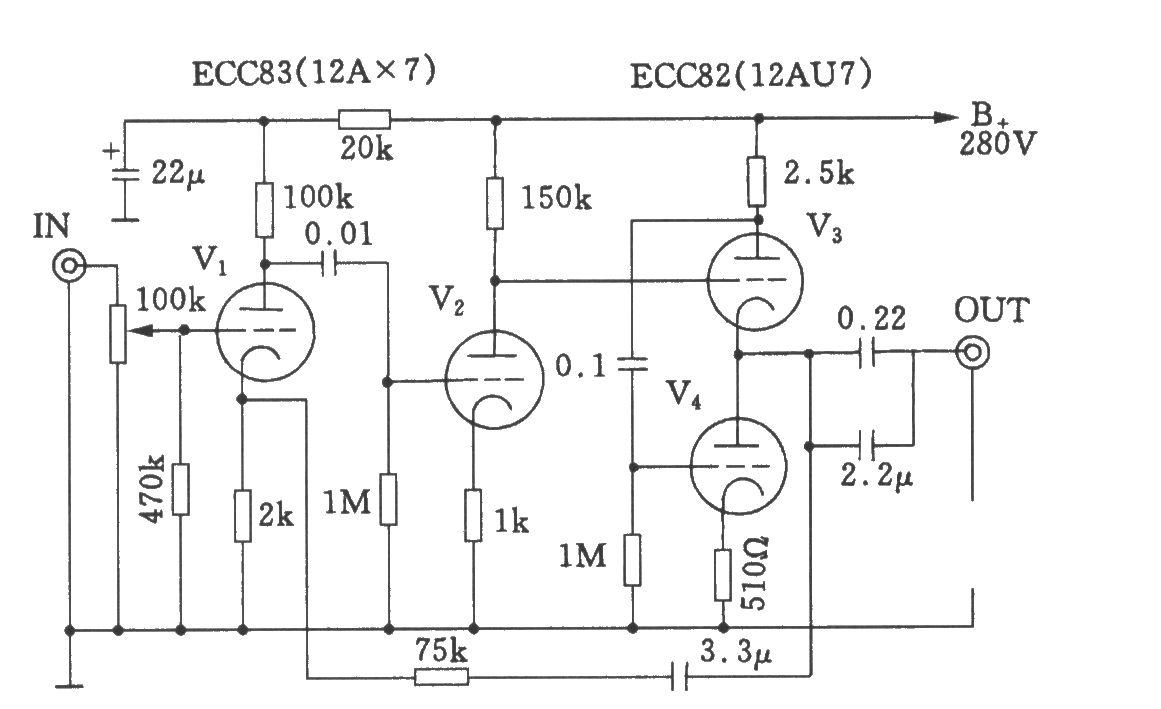 和田茂氏电子管前级放大器电路图
