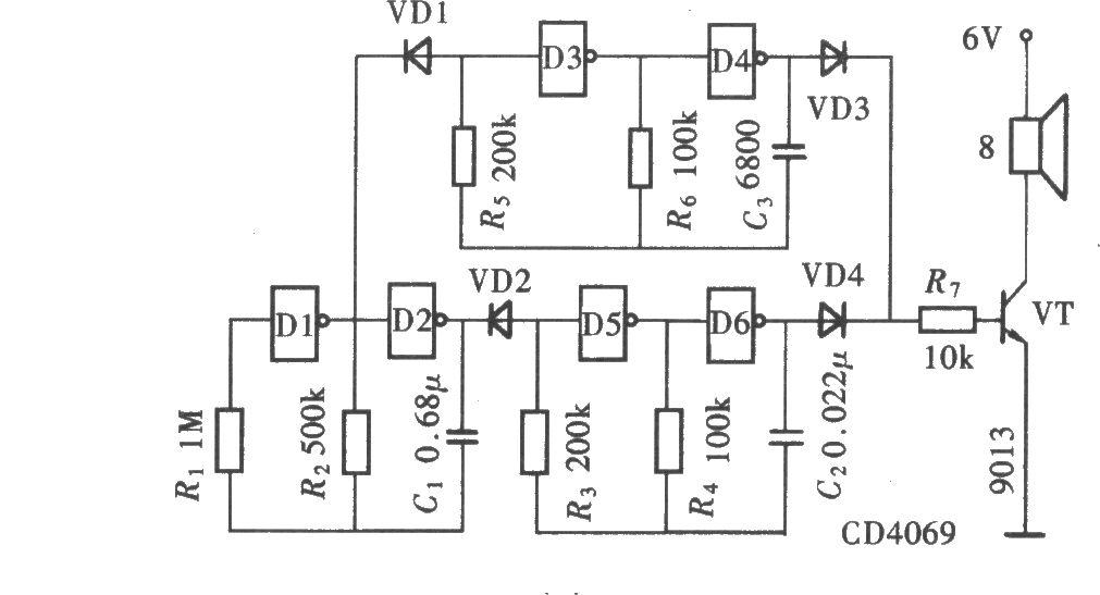 用门电路组成的警笛声发生器(cd4069)