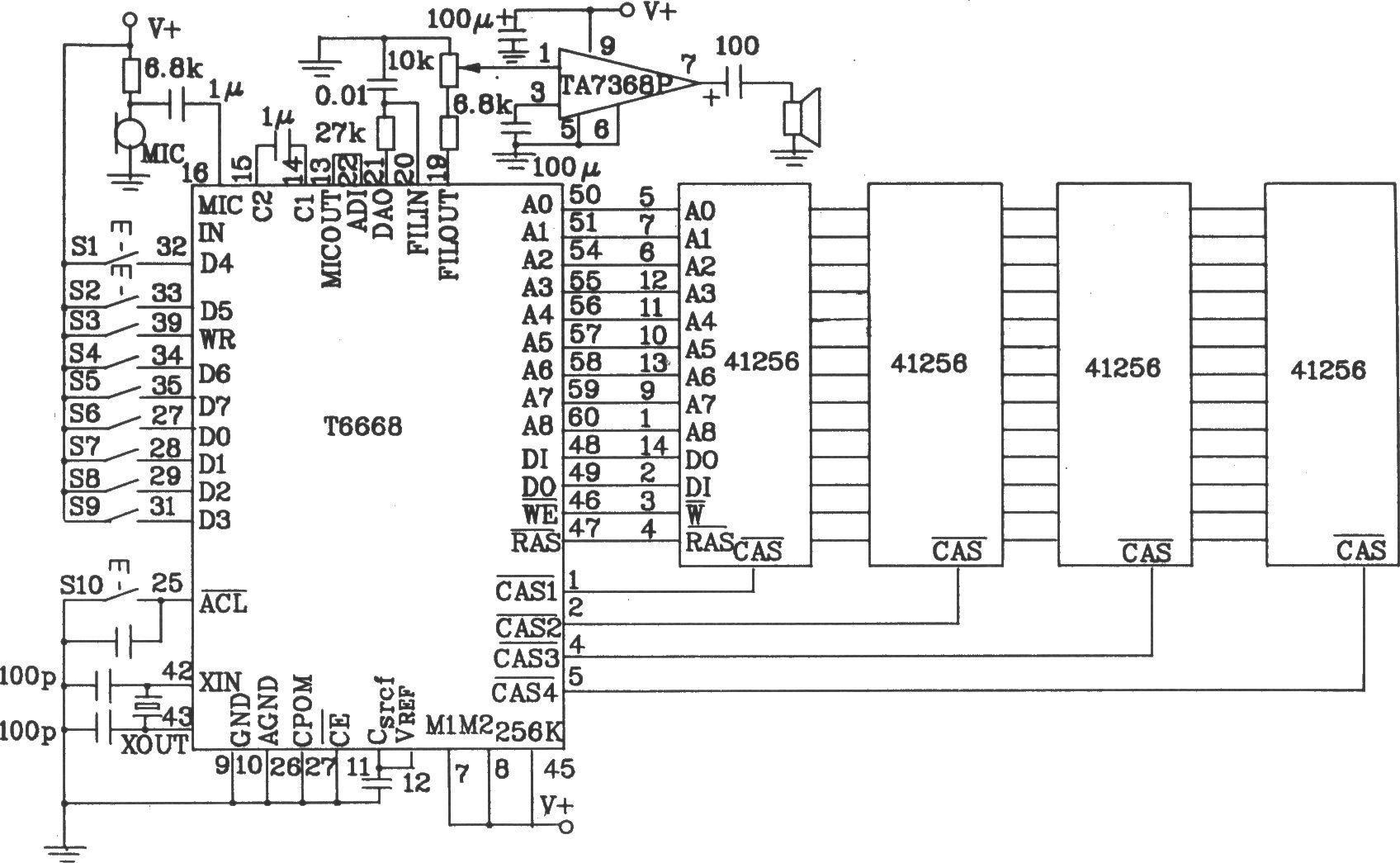 语音合成芯片t6668应用电路图