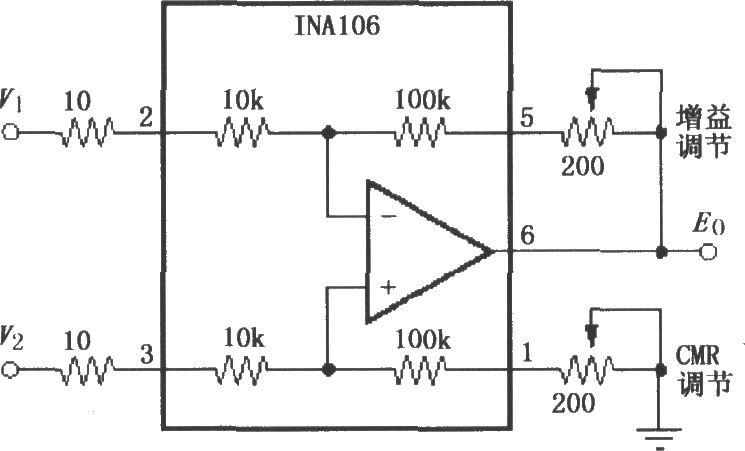 共模抑制比可调的差分放大电路 INA106