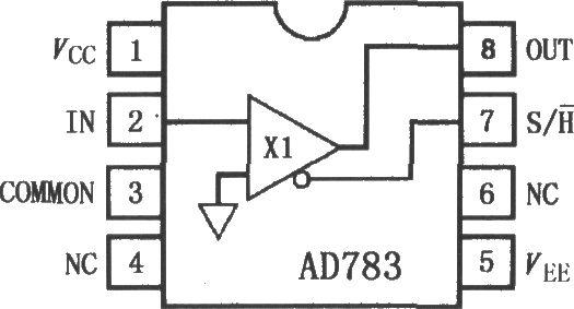 AD783是高速单片采样保持放大器(SHA),提供典型250ns采样时间达到0.01%,在最高输入频率100kHz时规定和测试保持模式总谐波失真。AD783的基本特点与AD781相同。AD783采用模拟器件公司的ABCMOS制造工艺,ABCMOS工艺综合了高性能、低噪声双极性电路和低功率CMOS逻辑,提供一个精确、高速和低功率的SHA。AD783有J级、A级、S级3个温度等级,其引脚排列如图所示。