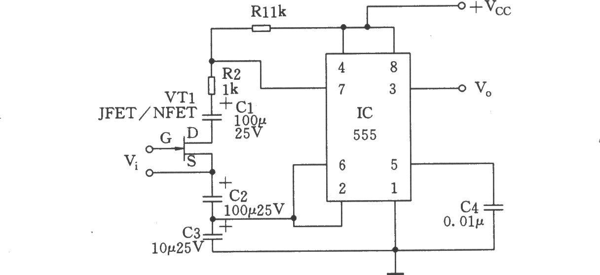 如图所示电路以555定时器构成自激多谐振荡器