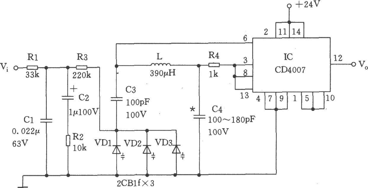 本压控振荡器如图所示。该压控信号Vi由低通滤波器Rl~R3、Cl~C2向变容二极管VDl~VD3提供一个随频率及相位变化而变化的直流电压,该电压由电感L、电容C3、C4及变容二极管VDl~VD3和集成电路IC(CD4007) 成VCO(压控振荡器)的输出频率。