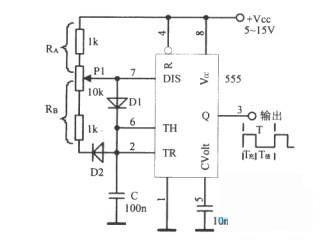 采用555组成占空比可调的方波振荡器