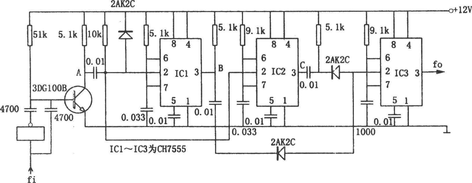 ch7555构成的四倍频电路