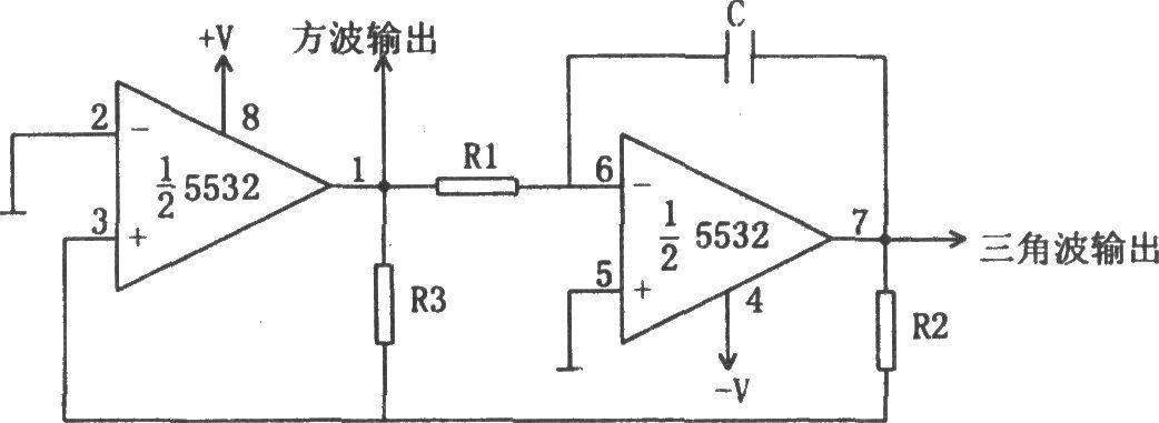 如图所示为方波和三角波振荡电路。该电路利用运放产生高精度的方波和三角波,输出频率由电阻R1、R2和R3以及电容C确定,其计算公式为: 。 电路所需的正负电源电压可达22V。虽然输出波形幅度不对称,但方波输出仍可保持50%的占空比。