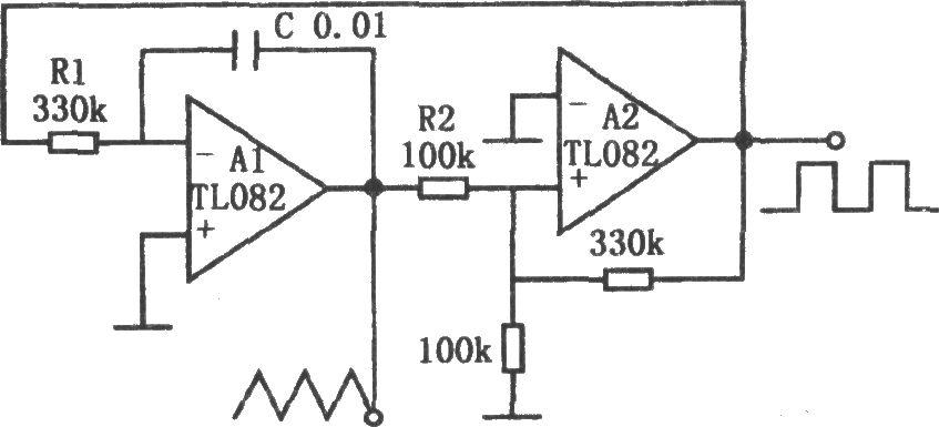 如图所示为简单的三角波和方波产生电路。该电路由运算放大器组成的积分器和迟滞比较器电路构成。图中R1和C组成积分时间常数。用来改变振荡频率。R2不仅改变三角波的振幅,同时也改变三角波的频率。此外,振荡频率还受迟滞比较器输出电压的影响。输出电平高低由运放饱和电压确定。由于元件的离散性,它会影响波形的对称性。