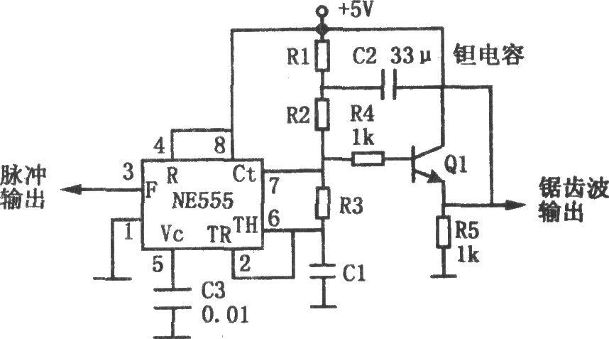 通过电阻R1、R2和R3充电,而放电则通过R3和NE555内部的晶体