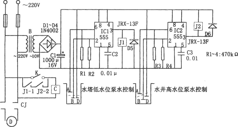 该控制电路由降压整流电路,555触发电路(ic1,ic2),继电器控制电路等