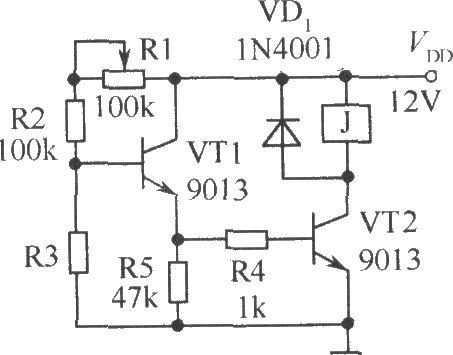 电阻r1,r2及光敏电阻r3构成分压电路,当光线暗至一定程度时,vt1的基极