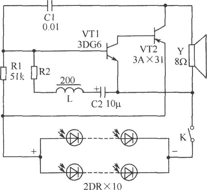 如图所示是电子鸟的电路图。晶体管VT1、VT2和电阻R1、电容C1组成一自激音频振荡器,当硅光电池受光照射时,即产生电压,在VT1的基极产生一个电信号,经过VT1、VT2两级放大后,又经电容C1反馈给VT1的基极,由于电路是正反馈回路,故可以引起振荡而产生音频信号,其振荡的频率主要由R1C1的时间常数决定。图中L、R2、C2与晶体管VT1又组成间歇振荡器,适当选取L、C2的数值可使间歇振荡器的频率为3Hz~10Hz,由于这一振荡由VT1产生,从而可控制上述音频信号间歇地工作,扬声器即发出与鸟叫声很相似的啾