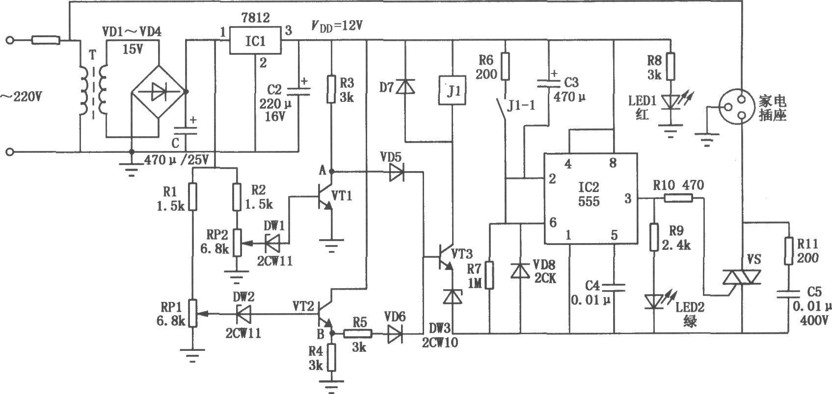 如图所示,它由直流稳压电路、延时电路、过压欠压保护和执行电路图片