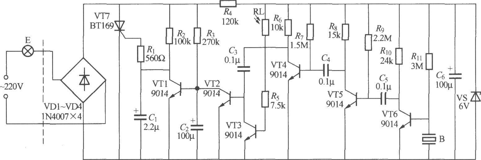本电路图所用到的元器件: BT169 9014  如图所示是一个用压电陶瓷片作声一电换能器的声、光控楼梯走道延迟照明开关,由于压电陶瓷片对声音信号感受灵敏度低于驻极体电容话筒,所以音频放大器使用VT4~VT6三级电压放大,以提高开关对声音的反应灵敏度。电路的延迟时间主要由R3、C2决定,图示数据约1min。