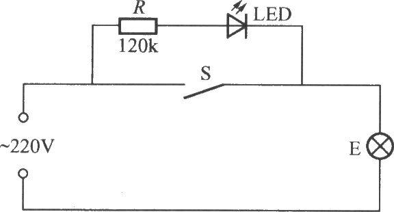 当开关s打开时,220v交流电经电阻r降压限流与灯泡e加至发光二极管led