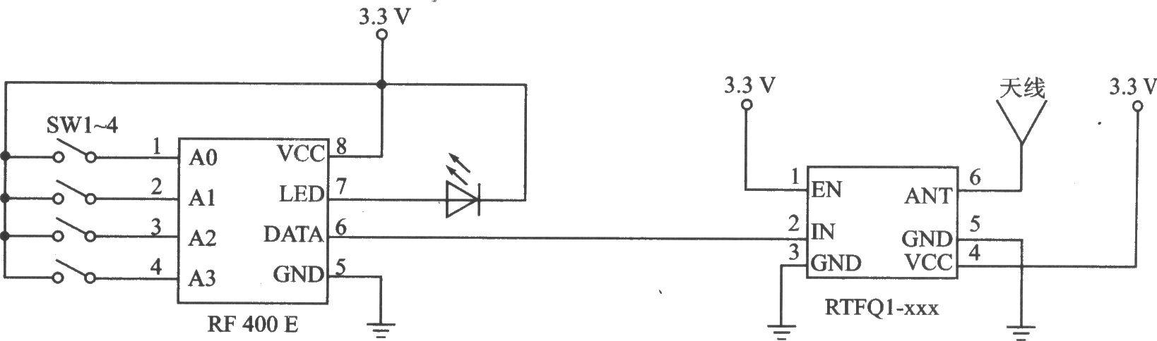 本电路图所用到的元器件: RF400E FM-RTFQ1-868 FM-RTFQl-xxx是高效率FM发射器。该系列产品有FM-RTFQl-315 MHz、FM-RTFQ1-433 MHz和FM-RTFQl-868 MHz三个型号,与之配套的接收器是FM-RRFQ1-315 MHz、FM-RRFQl-433 MHz和FM-RRFQl-868 MHz。它们适合在无线安防系统、汽车报警和遥控/遥测等中应用。 主要技术特点如下: 工作频率为315/433/868 MHz; 发射距离可达250 m; 数据传输速率