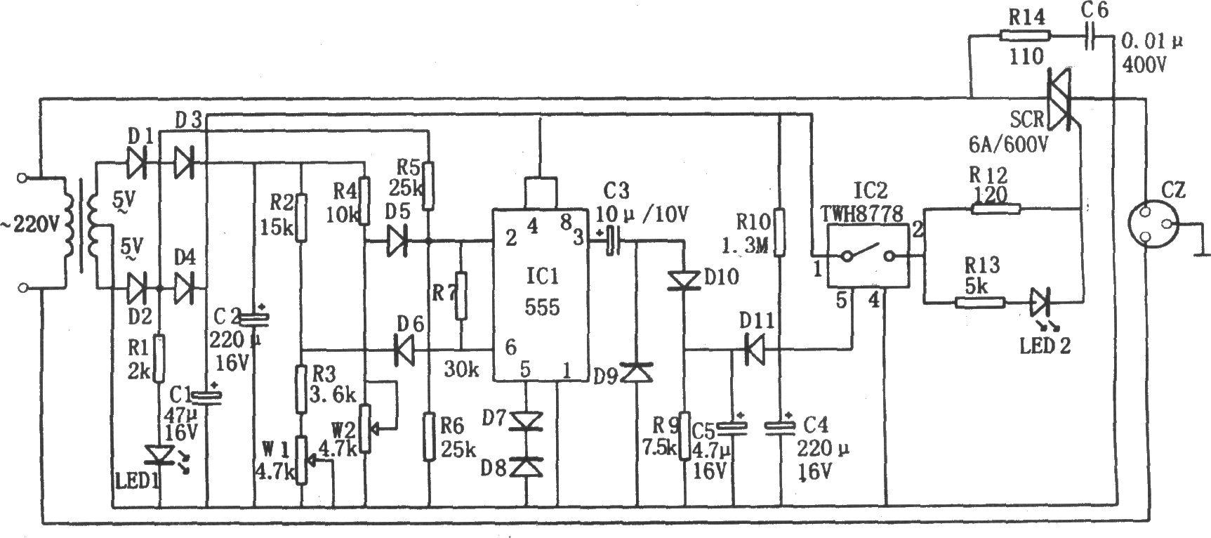 555构成的全自动加电保护器图片