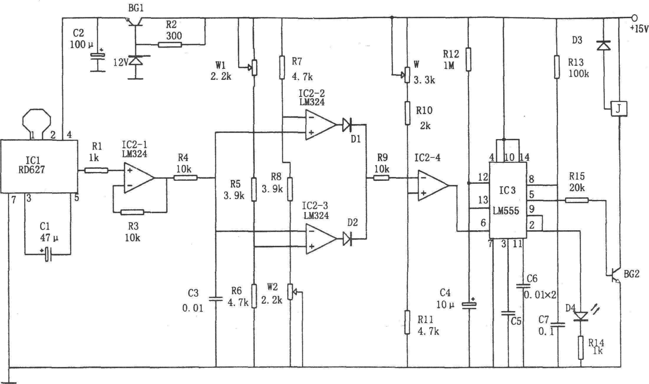该电路由电压比较器,多普勒效应传感集成电路