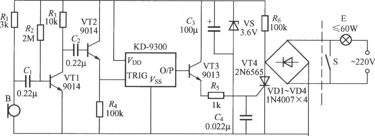 本电路图所用到的元器件: KKD-9300 9013 22N6565 9014  如图所示是一个采用音乐门铃芯片为核心器件制作的声控延迟灯,使用时,只要吹一下口哨或拍一下手掌,电灯便点亮,延迟20s左右,灯会自行熄灭,可给生活带来不少方便。该电路另一特点是它采用二线制接法,可以直接取代普通开关而不必更改室内原有线路;也可将它并联在普通电灯开关上,便可将普通照明灯改造为声控延迟灯。该电路电灯点亮时间的长短主要取决于门铃芯片内储乐曲信号的长度,KD-9300