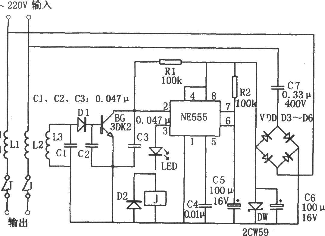 NE555构成的自动复位触电保安器图片