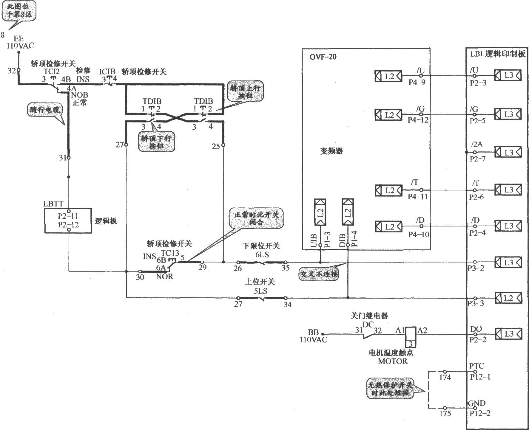 奥的斯toec-chvf电梯检修电路