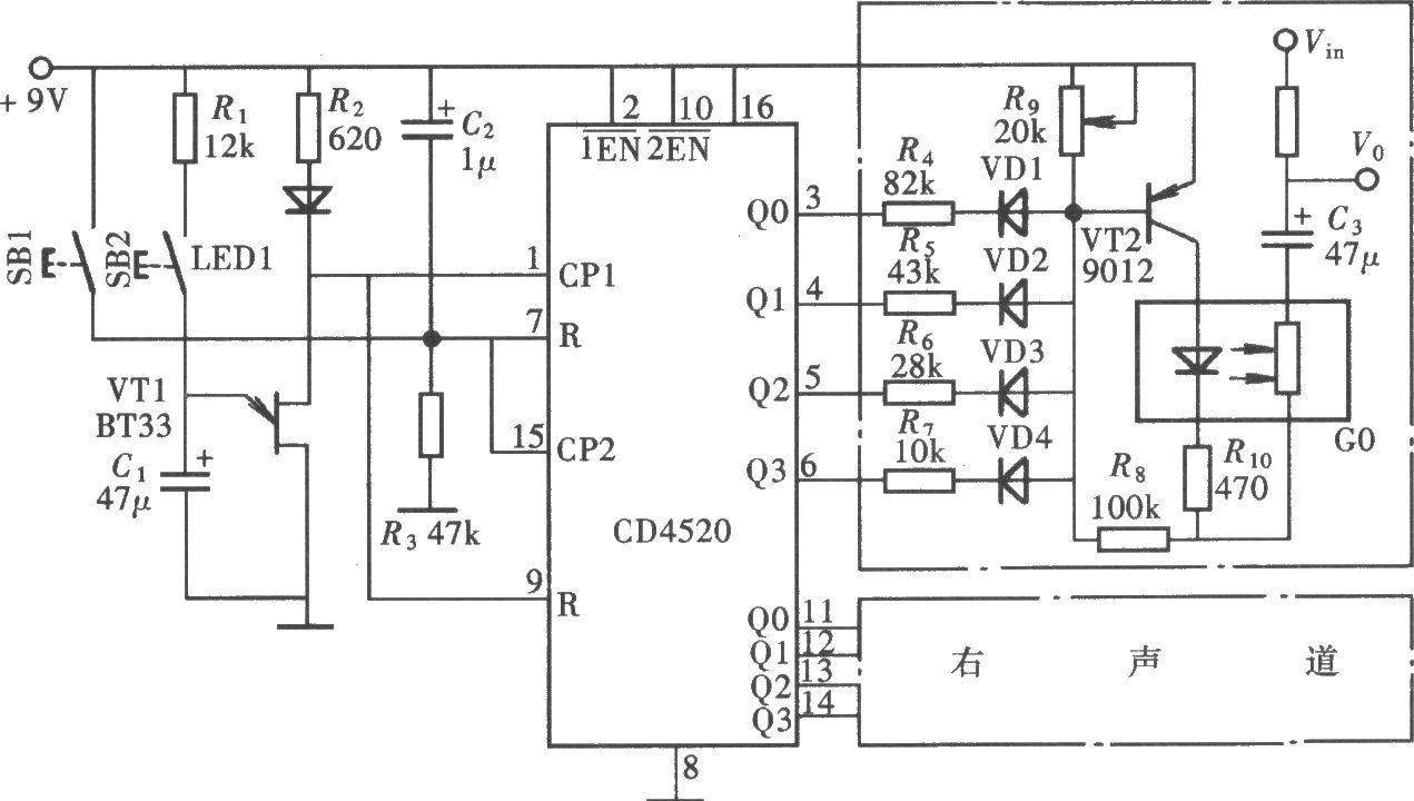 杜铭源 家用电路汇编                该例音量控制器的主控元件是光