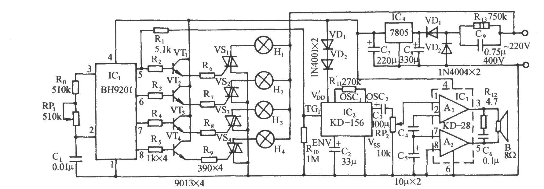 bh9201是一种专用彩灯控制集成电路,它有四路控制信号输出,调节接在