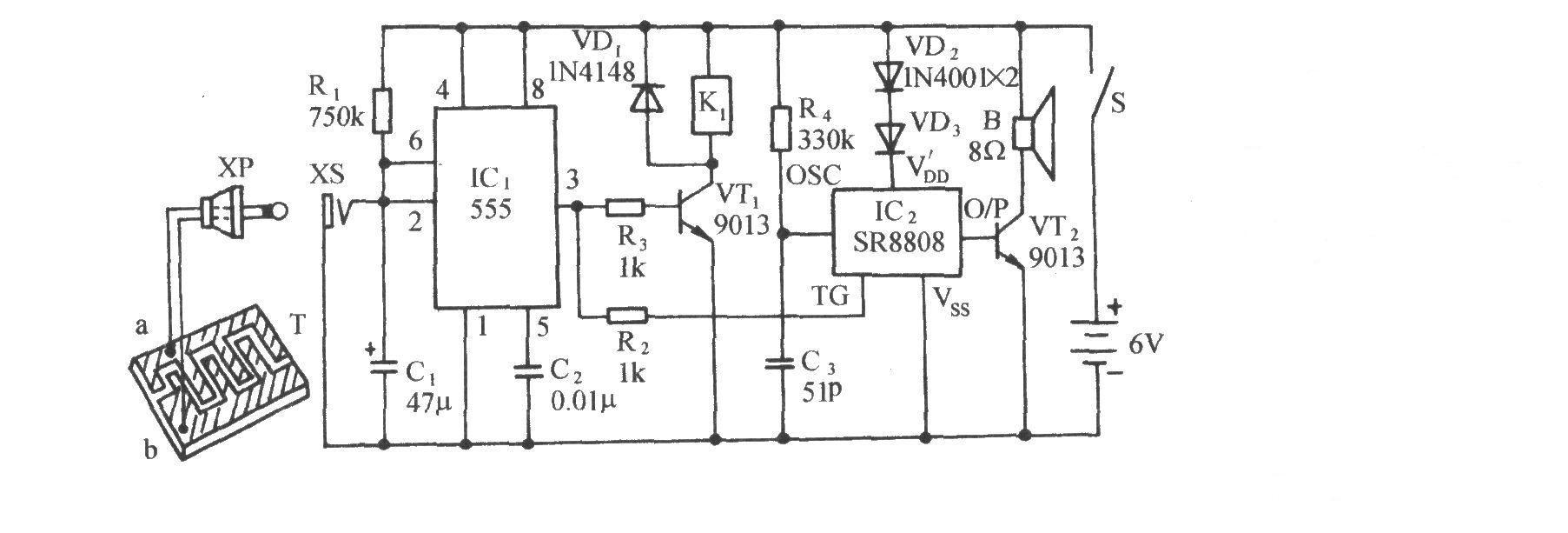 本电路图所用到的元器件: 555 9013 SR8808  电路如图所示。它由气敏传感器、单稳态触发电路、继电器控制电机电路、语音发声电路和交流降压整流电路等组成。当气敏传感器检测到的可燃气浓度超过给定浓度时,排气扇便自动接通,同时会发出模拟口哨声,以引起人们的注意、提高警惕。