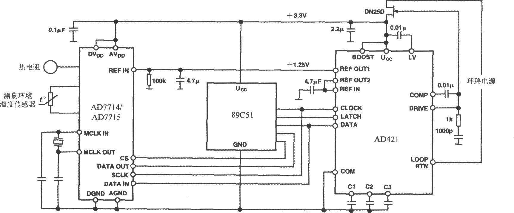 由4~20ma电流环输出式数模转换器ad421构成的4