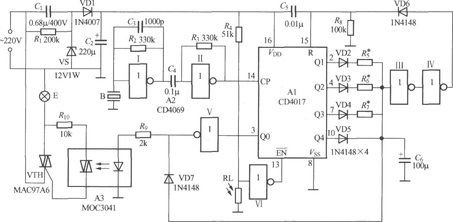 非二线制声光控楼梯延迟开关电路(5)