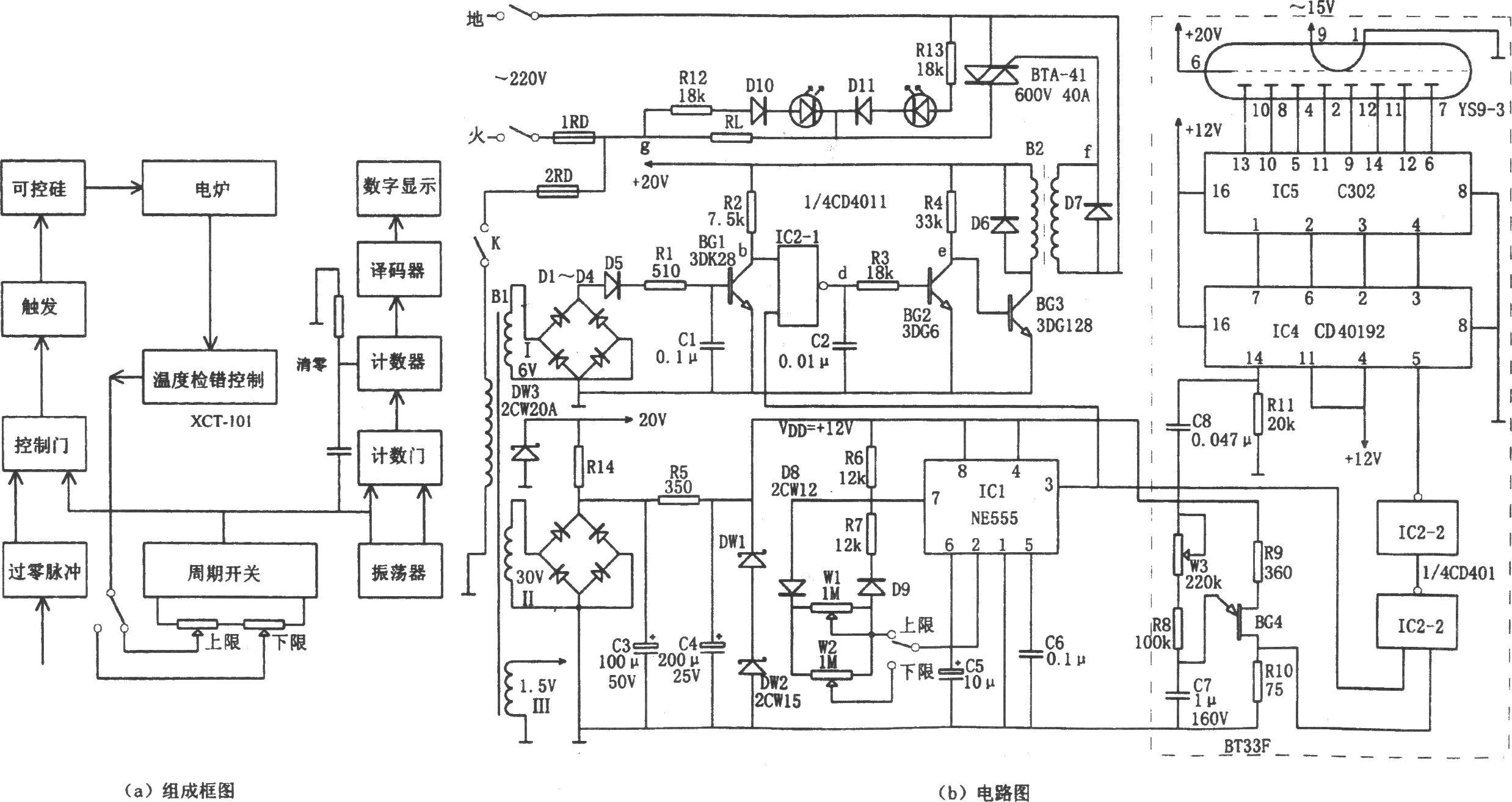 该温控装置由信号检测温度控制电路,过零检测电路,周期开关,触发控制